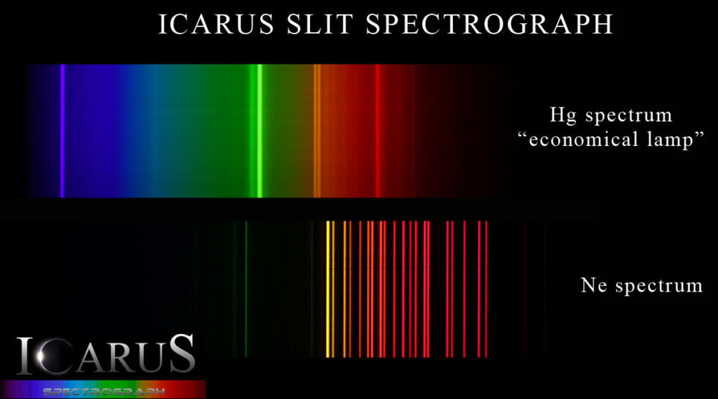 Emission spectra by Icarus Slit Astronomical Spectrograph
